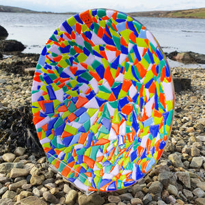 A gorgeous mosaic bowl in bright multicoloured glass, handmade by Connemara Blue