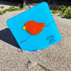 A fused glass coaster featuring a bright pimento red bird perched on hand-twisted 'barbed' wire on a light blue background