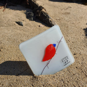 A fused glass coaster featuring a red bird on barbed wire, set against a light grey background