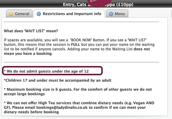 Booking restrictions