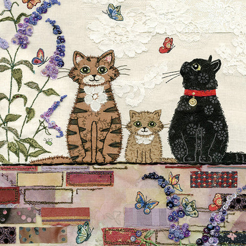 London Cat Cafe - Greeting Card - 3 cats on a wall