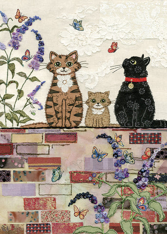 Cats on a Wall Greeting Card