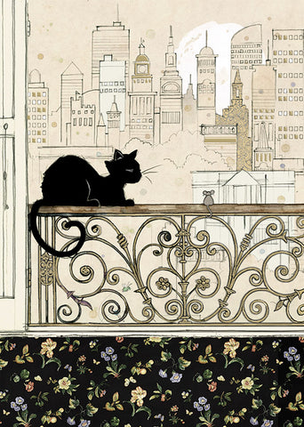 City Cat Greeting Card