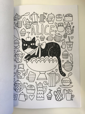 Cats In Wonderland Colouring Book