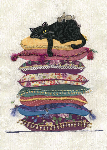 Cat on Cushions Greeting Card