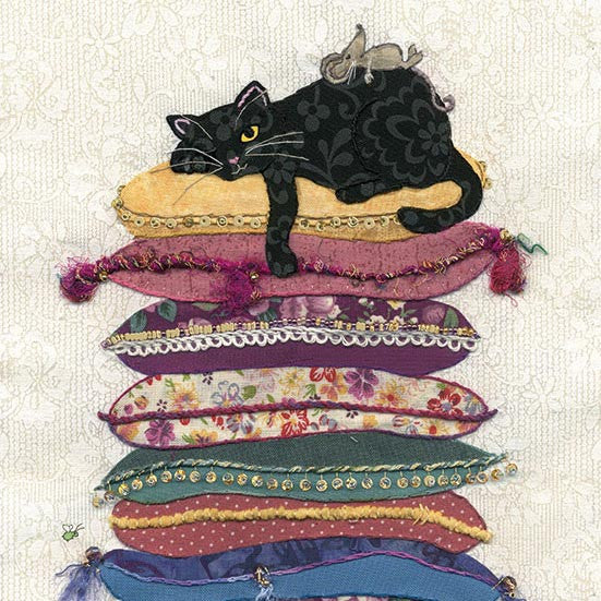London Cat Cafe - Greeting Card - black cat on cushions