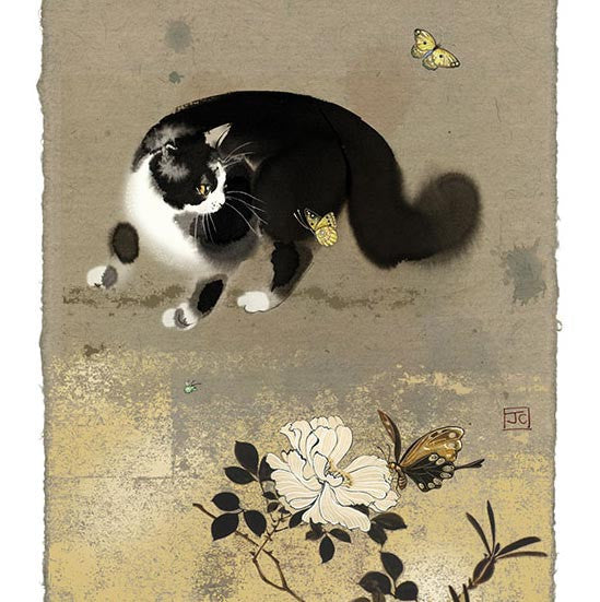 Cat and Butterflies Greeting Card
