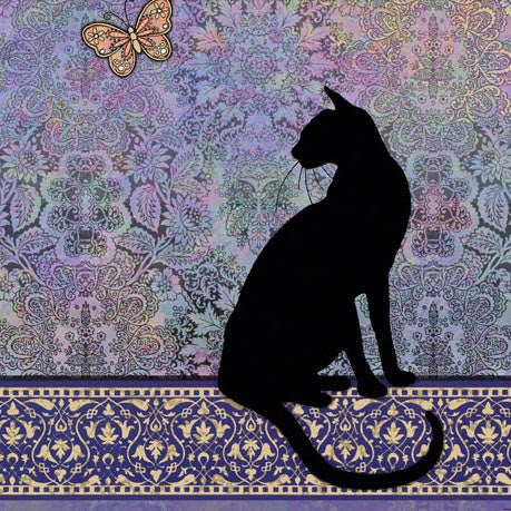 London Cat Cafe - Greeting Card - black cat on purple background