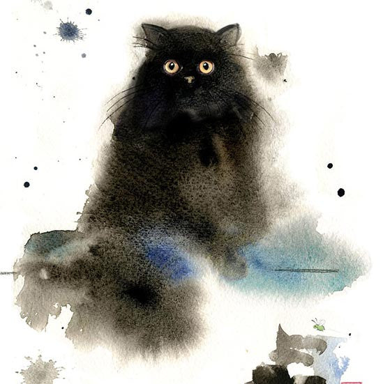 London Cat Cafe - Greeting Card - fluffy black cat