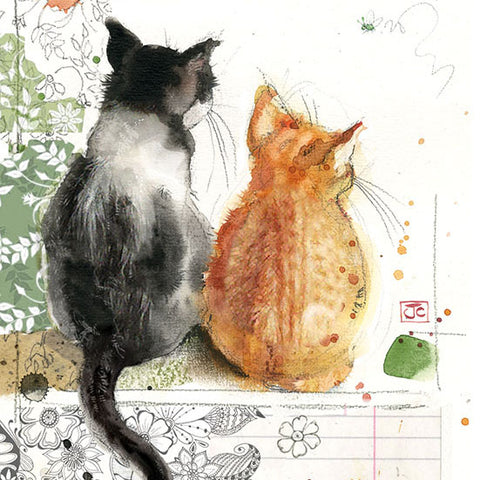 London Cat Cafe - Greeting Card - kitten friends
