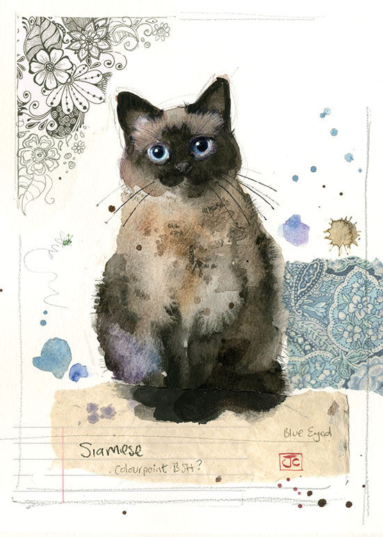 London Cat Cafe - Greeting Card - siamese cat