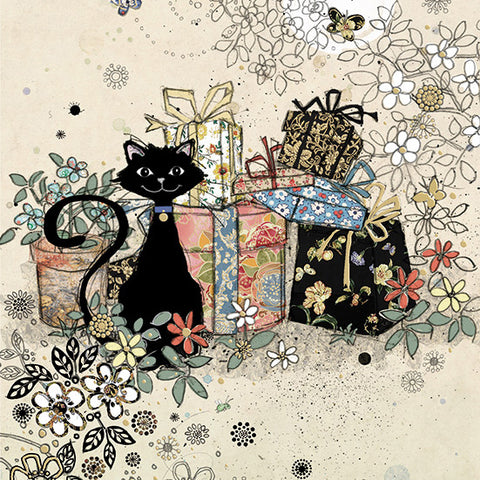 London Cat Cafe - Greeting Card - cartoon cat with presents
