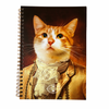 Lord Donnie Vintage Cat A5 Journal by Lady Dinah's Cat Emporium. The cover of this journal depicts a short-haired ginger cat wearing silky attire fit for a dandy with a lace cravat.