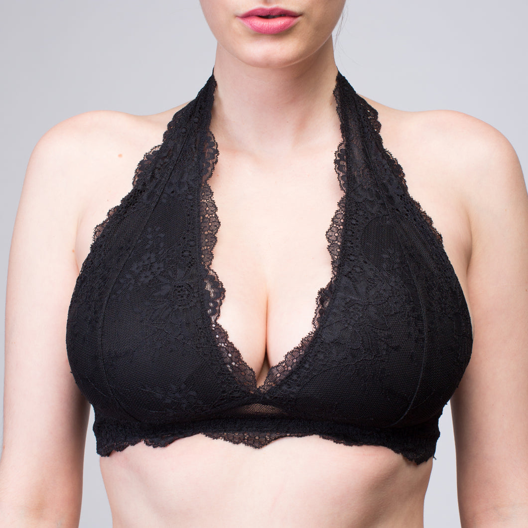 Interchangeable Bettina Black Wireless Lace Bralette | The Bra Lab - The Bra Lab