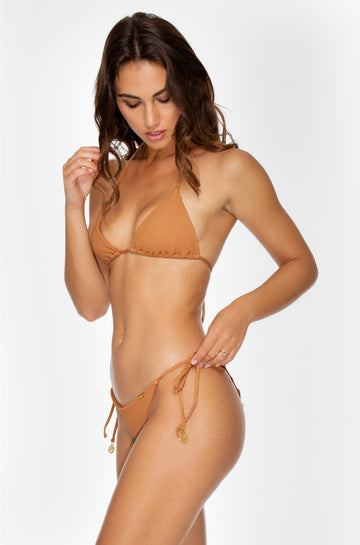 Jagged Bombshell Wavy Ruched Brazilian Tie Side Bottom in Caramelo