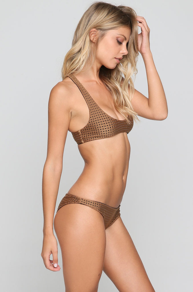 Waikoloa Mesh Bikini Bottom in Beach Babe/Shadow