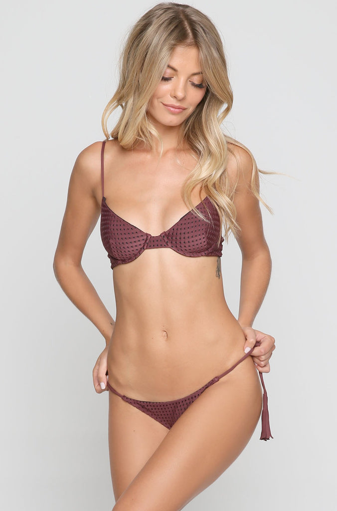 Polihale Mesh Bikini Bottom in Merlot/Shadow