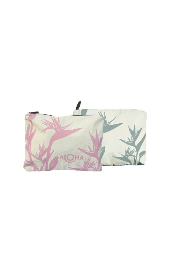 Birds of Paradise Small Reversible Pouch in Waterfall/Rose Quartz