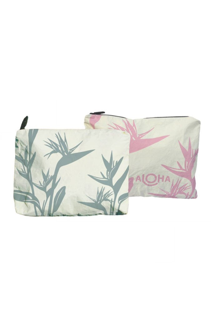 Birds of Paradise Mid-Size Reversible Pouch in Waterfall/Rose Quartz