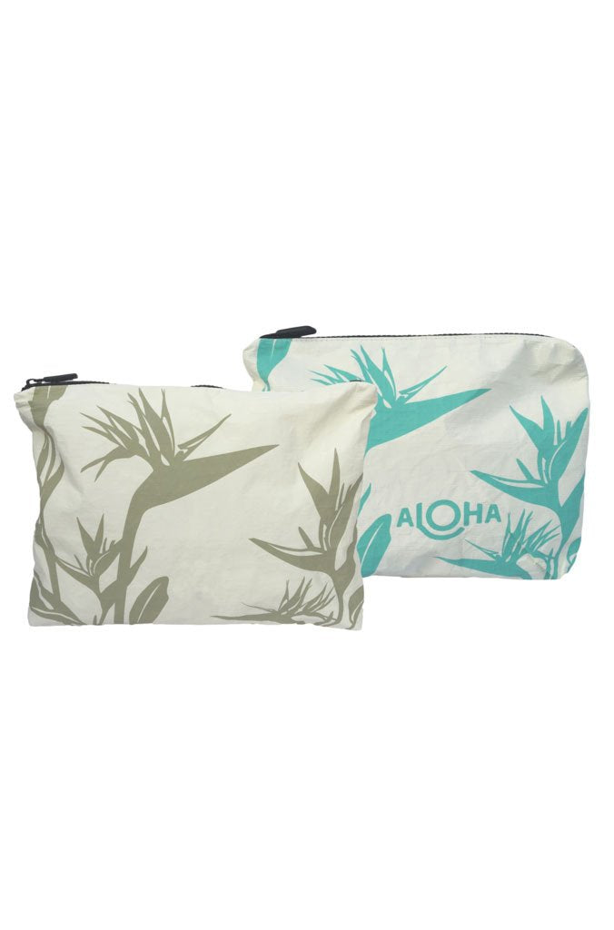 Birds of Paradise Mid-Size Reversible Pouch in Aqua/Moss