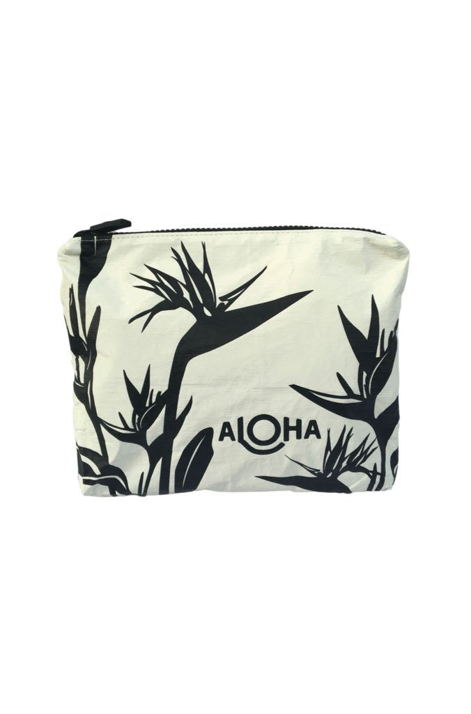 Birds of Paradise Mid-Size Pouch in Black