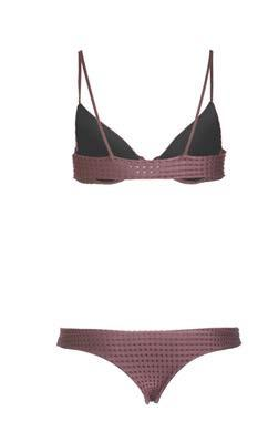 Ho'okipa Mesh Bikini Bottom in Merlot/Shadow