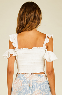 Swiss Dot Smocked Crop Top in White