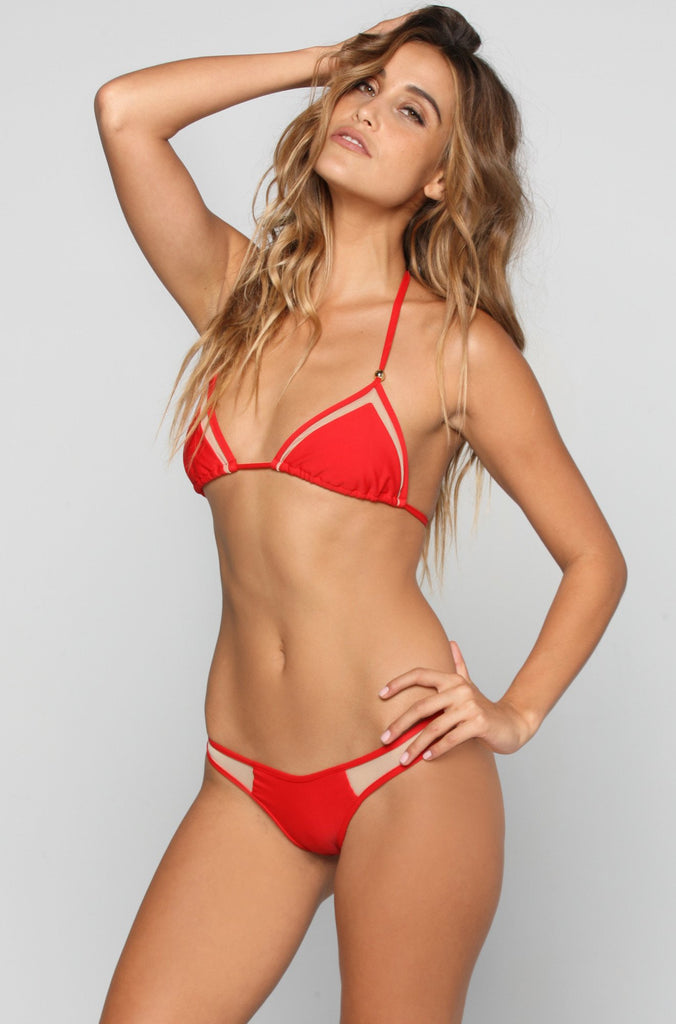 Kai Lani Mesh Bikini Bottom in Red|ISHINE365 - 2