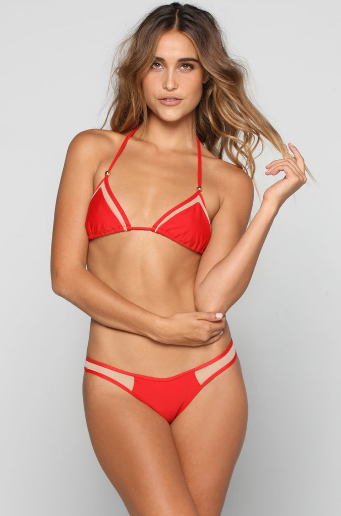 Kai Lani Mesh Bikini Bottom in Red|ISHINE365 - 3
