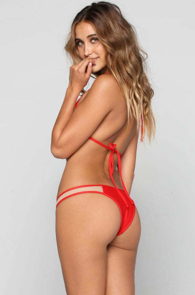 Mesh Bikini Bottom in Red
