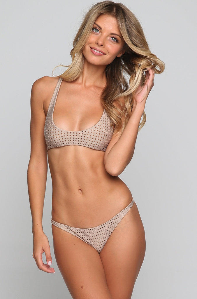Pipeline Mesh Bikini Bottom in Clay/Beach Babe