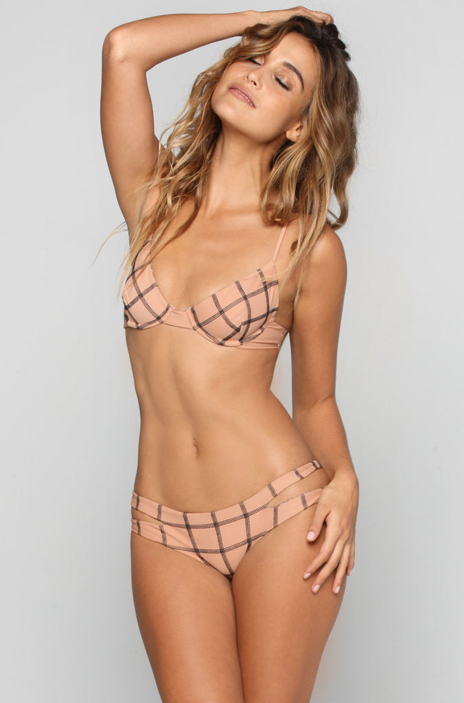 Manhattan Stitch Bikini Top in Topless/Storm