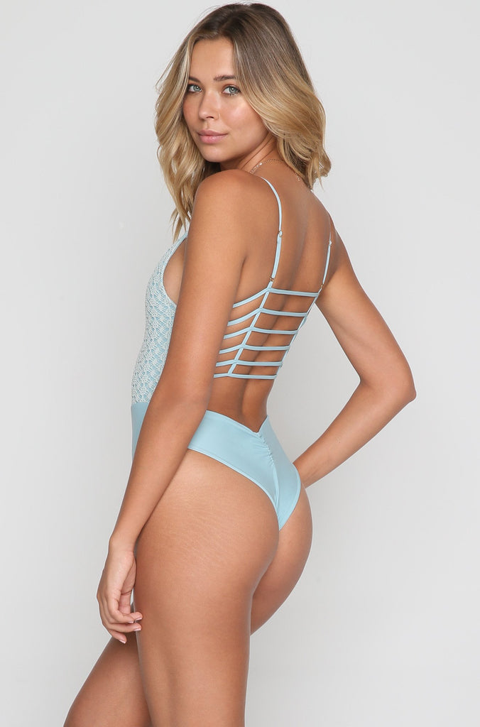 Cage One Piece in Aqua Marine Crochet