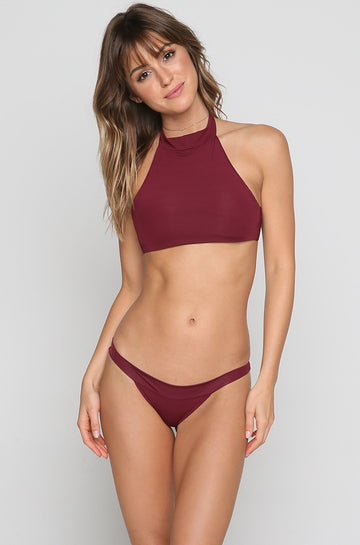 Zoe Bikini Top in Burgundy