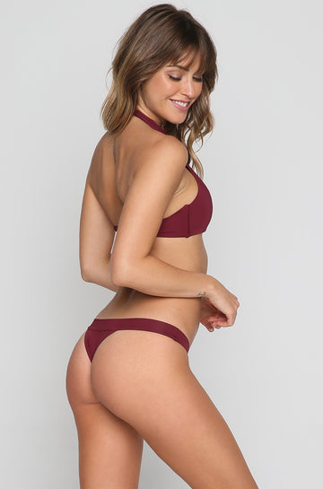 Zoe Bikini Bottom in Burgundy