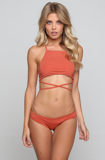 Square Neck Bikini Top in Spice