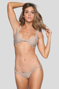 Spain Mesh Bikini Top in Clay/Beach Babe