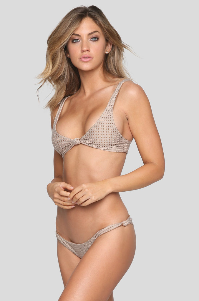 Cusco Mesh Bikini Bottom in Clay/Beach Babe