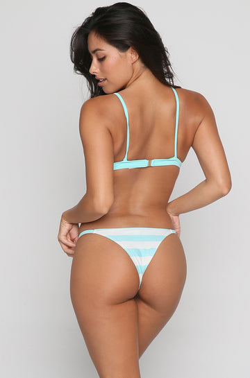 The Mia Bikini Bottom in Aqua/Cream Stripe