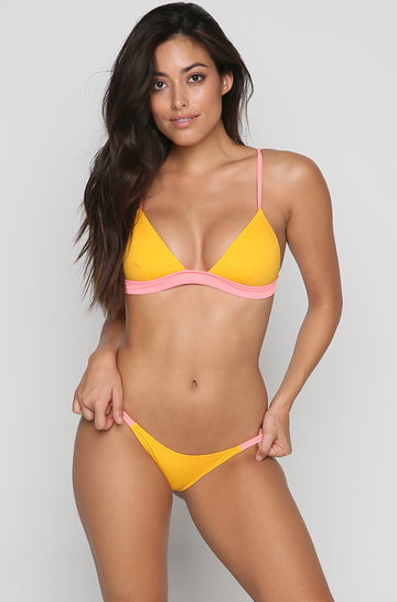 The Morgan Bikini Top in Coral/Marigold Stripe