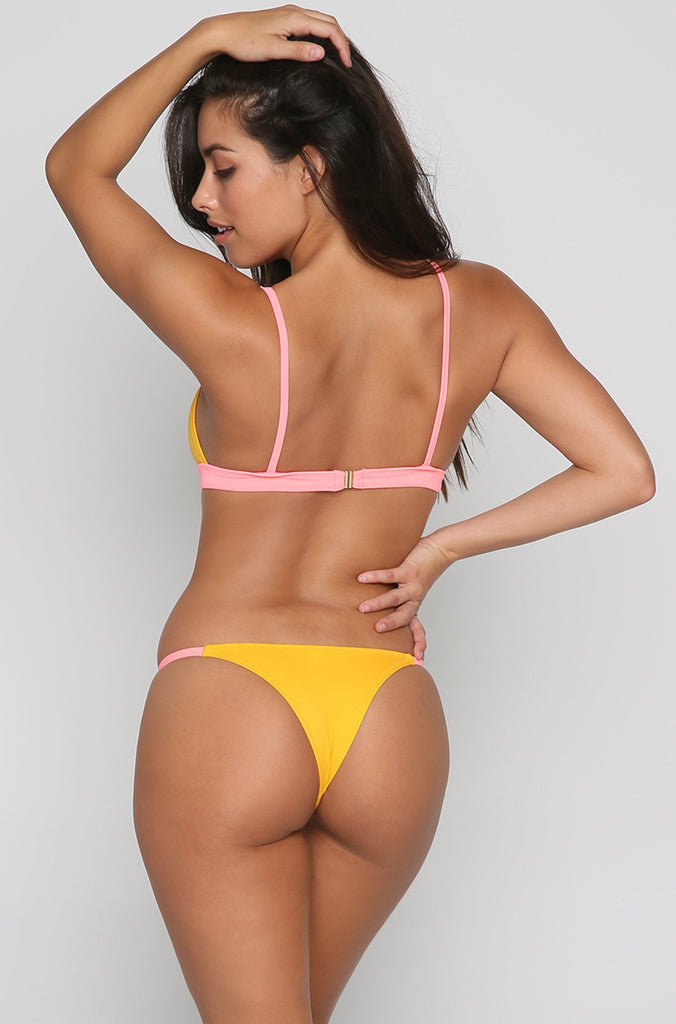 The Mia Bikini Bottom in Coral/Marigold Stripe