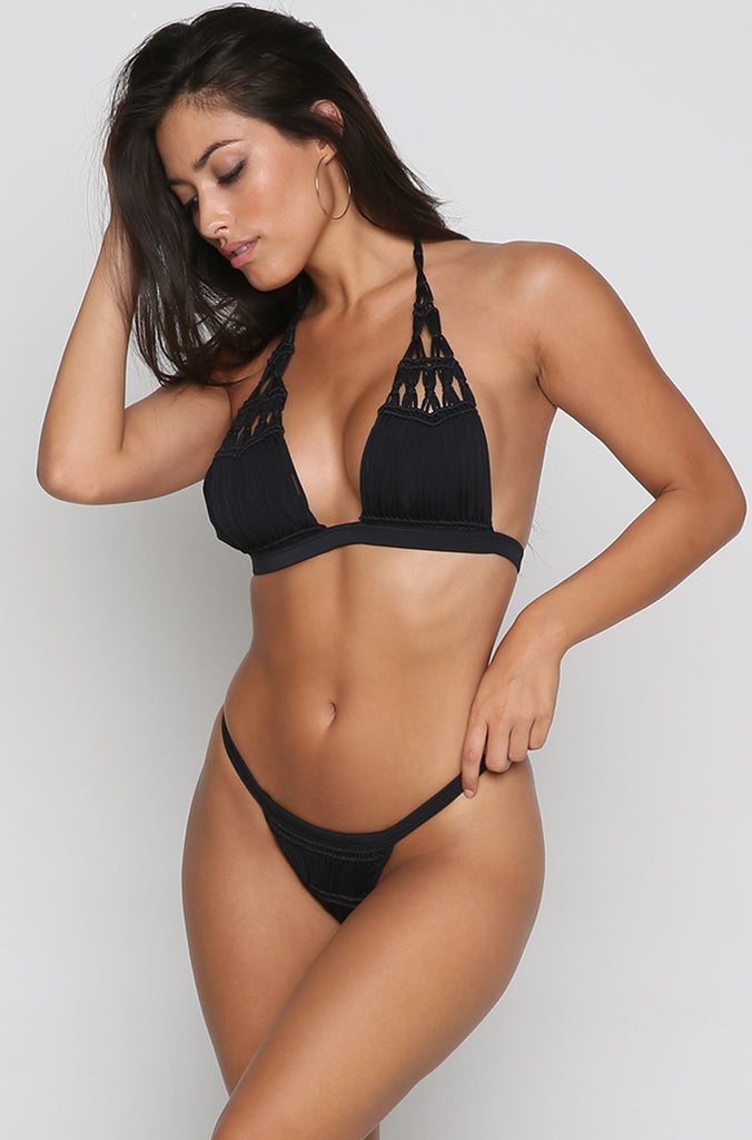 Outlaw Macrame Bikini Bottom in Black