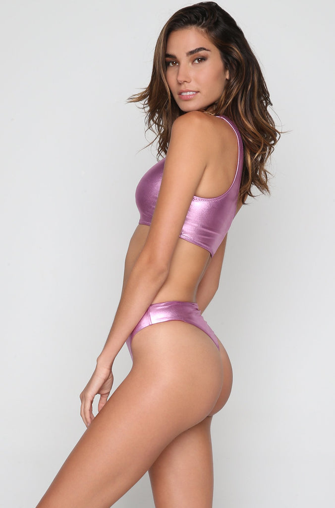La Tanga Bottom in Pink Metallic