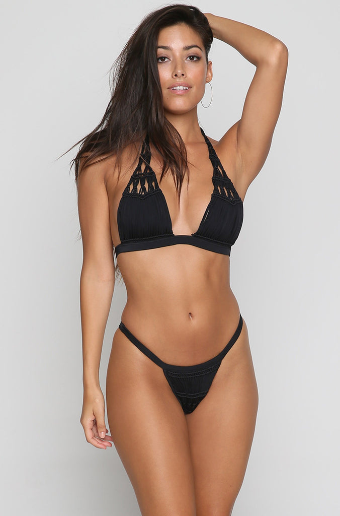 Outlaw Macrame Bikini Top in Black