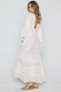 Jenny Long Dress with Lace in Natural