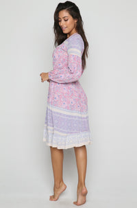 Jasmine Printed Wrap Dress in Pink