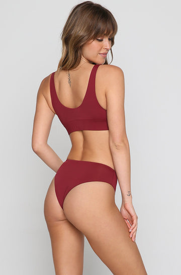 Mia Bikini Bottom in Wine