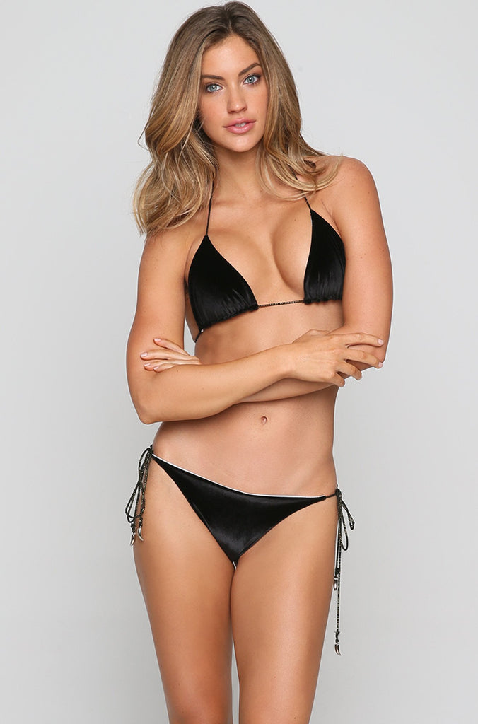 Devon Bikini Top in Black Velvet