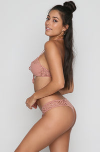 Riot Crochet Bikini Top in Dusty Rose