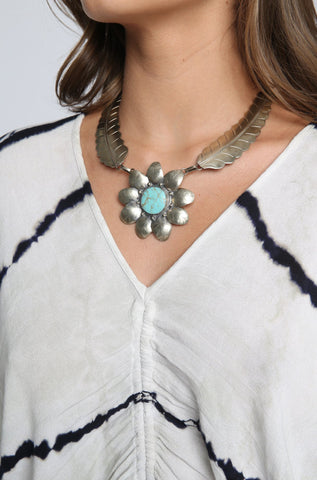 Two Raven El Sol Necklace in Turquoise